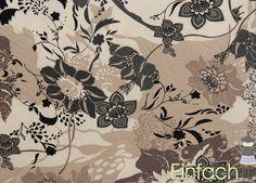 Jersey mit Blumen beige-grau