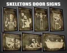 Skeletons Door Signs toilet or bathroom