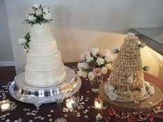 Traditional wedding cake and Norwegian crown cake (Kransekake)