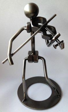 Metal Nut & Bolt Violin fiddle player Music person figure Unique Art gift NWOT