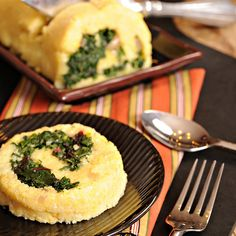 Polenta and Sauteed Greens Spirals Recipe- Pretty, Healthy and Meatless