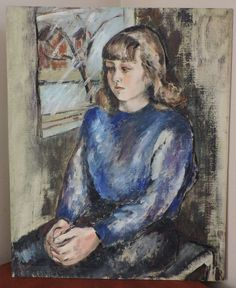 Vintage Oil Portrait GIRL in BLUE by Window Modernist Midcentury c1940s Painting #Impressionism