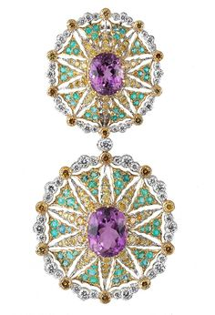 Buccellati kunzite earrings with paraïba tourmaline and yellow diamonds