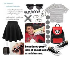 """""""with Danisnotonfire"""" by audrey-panda ❤ liked on Polyvore featuring Les Petits Joueurs, Theory, Yves Saint Laurent, Converse, MANGO and Essie"""