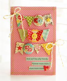 3 row scrap banner; buttons/butterflies on flags; strip sentiments; love the quote!