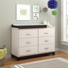 Cosco Leni 6 Drawer Dresser with Changing Table - White Stipple - 5925216COM