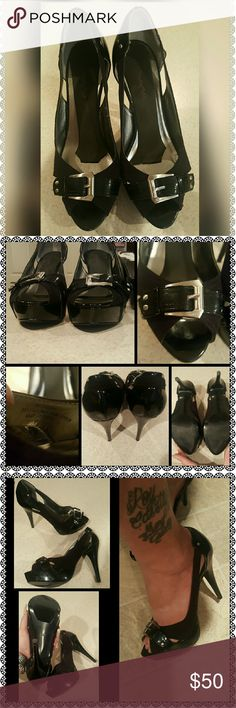 Classy Black Open-Toe Heels by GUESS Size 8 My mom got me these GUESS Heels for my bday a couple of years ago. Bc she paid $210 for them I've kept them. I tried everything to make them not slip off my heels when I walked, but nothing worked. The pads inside the sole are to keep feet in place, but the ONE time I wore them I only made it from our room to the Hotel lobby before my husband asked me to take them off. Any little threads you see are from storage since I used the box to ship a diff…