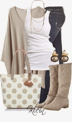 """Brahmin Frankie Polka Dot Tote""- love the soft neutrals of this outfit! Very casual Komplette Outfits, Casual Outfits, Fashion Outfits, Casual Boots, Dress Casual, Fashion Ideas, Casual Jeans, Ladies Outfits, Fashion Shorts"
