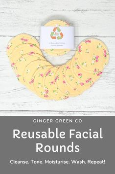 Reusable cotton facial rounds. Use the super soft cotton flannel side to cleanse and tone, and the cotton towelling side for gentle exfoliation. Then throw in the washing machine and use again and again! Gentle on you and the planet. Available in a range of designs with optional wash bag. Reusable Facial Rounds / Cotton Pads / Make Up Wipes / Zero Waste / Eco Friendly Cotton Pads, Cotton Towels, Make Up Remover, Eye Makeup Remover, Wash Your Face, Wash Bags, How To Remove