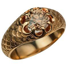 Antique Fancy Color Old European Cut Diamond Gold Men's Ring