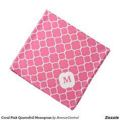 Coral Pink Quatrefoil Monogram Bandana