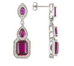 7.23ctw Emerald Cut,Pear Shape And Marquise Synthetic Ruby Earrings