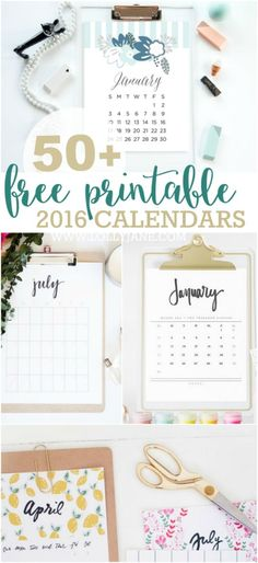 50+ free printable 2016 calendars. The ultimate roundup of 2016 calendar free printables!!