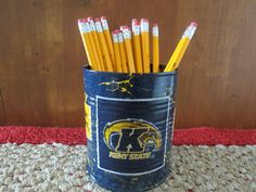 KENT STATE GOLDEN Flashes Recycled Can Holder/Pencils/Pens/Brush/Candy/Money/Gift Holder by KreationsGalore on Etsy