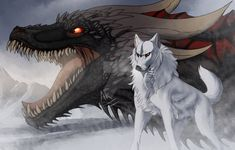 [Fanart Friday] The Dragon and the Wolf by Jumpy-Joltik on DeviantArt Arte Game Of Thrones, Game Of Thrones Artwork, Game Of Thrones Dragons, Anime Wolf, Mythical Creatures Art, Fantasy Creatures, Fantasy Dragon, Fantasy Art, Dragon Wolf
