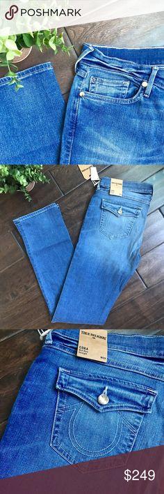 2e4c79d2abd5 NWT True Religion Cora Mid Rise Straight Jeans 92% Cotton, 6% Polyester,