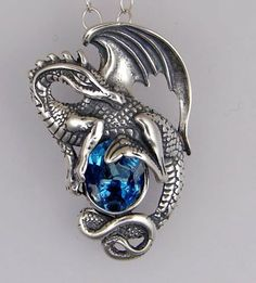 Sterling Silver Dragon of Power Accented with Siberian Blue Quartz Made in America The Silver Dragon-pendant