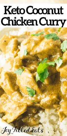 This coconut chicken curry is naturally low-carb & gluten-free, but tastes like true comfort food! Keto chicken curry is an easy dinner full of flavor! Low Carb Curry, Keto Curry, Low Carb Keto, Curry Recipes, Diet Recipes, Chicken Recipes, Healthy Recipes, Diet Meals, Keto Chicken