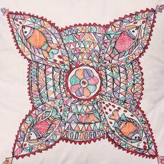 iMithila Madhubani Folk Art Off White Cotton Cushion Cover with Fishes and Flowers- Set of 2 Madhubani Art, Madhubani Painting, Cushion Covers, Pillow Covers, Hand Painted Sarees, Kalamkari Painting, Fabric Paint Designs, Indian Folk Art, Acrylic Paintings
