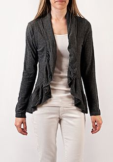 """Homecoming Trunk Shows - A cascading open-front knit cardigan with throw-on-and-go styling is a layering piece you'll reach for again and again. The soft peplum hem adds a feminine finish.  Available in Black and Gray.    Shoulder to hem (medium): 28""""   Sleeve length (medium): 25""""  Poly /Viscose Blend  Gentle Machine Wash/Lay Flat to Dry  Imported"""