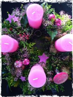 Adventskranz in Pink....