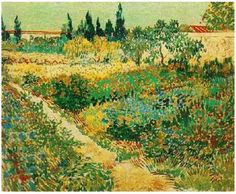 Vincent van Gogh Painting, Oil on Canvas Arles, France: July, 1888 Gemeentemuseum Den Haag The Hague, The Netherlands, Europe F: 429, JH: 1513  Van Gogh: Flowering Garden with Path Van Gogh Gallery