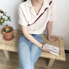 Material: Polyester One Size: Shoulder Width: Sleeve Length: Bust: Total Length: Kawaii Shirts, Casual Outfits, Cute Outfits, Girl Fashion, Fashion Outfits, Korean Fashion Trends, Looks Vintage, Korean Outfits, Minimal Fashion