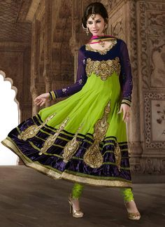 Alluring Purple And Green Resham Work Faux Georgette Anarkali Suit, Product Code : 3258, Shop Now : http://www.sareesaga.com/alluring-purple-and-green-resham-work-faux-georgette-anarkali-suit-3258  Email :support@sareesaga.com, What's App or Call : +91-9825192886