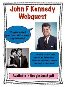 John F Kennedy Webquest Middle School History, John F Kennedy, Teaching History, Foreign Policy, Teacher Newsletter, Homeschool, Students, Politics, College