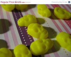 Summers End Sale 20 Mini Neon Yellow Skulls cabochon Flatbacks Decodon Kawaii Punk on Etsy, $1.80