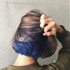 Why stay at one color when you can have two? Iris Blue with Beige Brown for the Fantastic Combo 💙💛 Styled and served by Japanese Stylist Gomi at hair salon NALU Hidden Hair Color, Cool Hair Color, Dye My Hair, New Hair, Underlights Hair, Aesthetic Hair, Grunge Hair, Pretty Hairstyles, Braid Hairstyles
