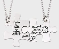 34 Impossibly Cute Friendship Necklaces Your BFF Will Totally Love - Bestfriend Shirts - Ideas of Bestfriend Shirts - A pretty pair of puzzle heart necklaces thatll let you carry a piece of your best friend at all times. Bff Necklaces, Best Friend Necklaces, Best Friend Jewelry, Friend Rings, Sister Jewelry, Pretty Necklaces, Bff Rings, Bracelets, Bestie Gifts
