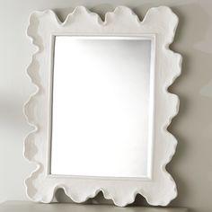 White Bathroom Mirror, Vanity Wall Mirror, White Mirror, Metal Mirror, Wall Mirrors, Hanging Mirrors, Master Bathroom, Unique Bathroom Mirrors, Beach Mirror