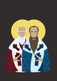 Two Saints and God, Piotr Tarnman on ArtStation at https://www.artstation.com/artwork/dNNXW #icon #chrisians #god #religion #religia #vector #aurora