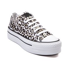 Shop for Womens Converse All Star Lo Platform Sneaker in White Leopard at Journeys Shoes. Shop today for the hottest brands in mens shoes and womens shoes at Journeys.com.The classic Converse All Star Lo top just got a feminine lift! White leopard print canvas upper, 6 eyelet lace-up, and 2 platform beneath a rubber bumper and toe box. Available only online at Journeys.com and SHIbyJourneys.com! Available for shipment in February