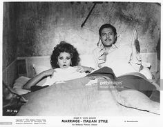 Actors Sophia Loren and <a gi-track='captionPersonalityLinkClicked' href='/galleries/personality/214766' ng-click='$event.stopPropagation()'>Marcello Mastroianni</a> in the film 'Marriage Italian Style'. Photo by Michael Ochs Archives/Getty Images