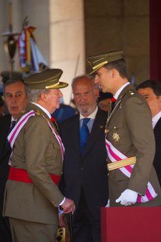 Spanish King Juan Carlos and his son Prince Felipe attend the Celebration of the Royal and Military Order of San Hermenegildo, to mark the bicentenary of the establishment of the Order at Real Monasterio de San Lorenzo de El Escorial on 03.06.2014 in El Escorial, Madrid