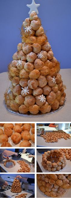French Croquembouche Tutorial Traditional dessert for weddings. wedding The croquembouche seems like a fun (yet difficult) to try for a special occasion. French Desserts, Just Desserts, Delicious Desserts, Dessert Recipes, Christmas Cooking, Christmas Desserts, Christmas Treats, Profiteroles, Eclairs