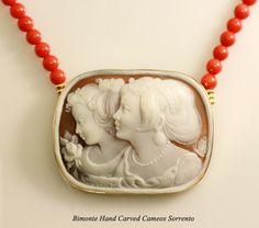 Cameo and Coral Necklace  Bimonte Cameos Coral Sorrento