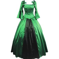 Partiss Womens Vintage Palace Masquerade Cosplay Prom Lolita Dress ($90) ❤ liked on Polyvore featuring dresses, prom dresses, vintage day dress, green prom dresses, masquerade dresses and vintage prom dresses