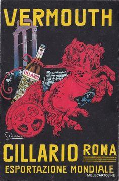 Old postcard,Codognato sign.1920 circa Liquor Advertising Vermouth Cillario Roma #millecartoline