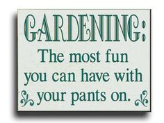 Gardening... The most fun you can have with your pants on