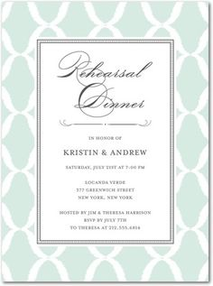 Rehersal Dinner Invitation