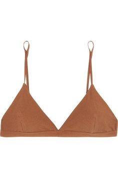 Baserange - Mississippi Ribbed Stretch-organic Cotton Soft-cup Triangle Bra - Light brown - x small