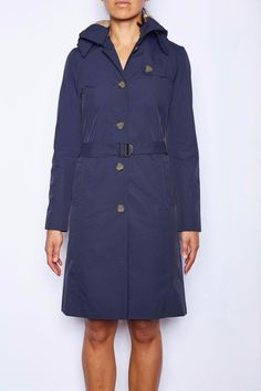 Every seam inside the jacket has a waterproof seal. Nylon lining with essential pockets and a detachable hood that can be adjusted to tighten around the face. Matte brown buttons are used throughout the jacket and combined with the buckle done up, gives a professional corporate look. Sleeves can be rolled up and belt tied at back for a more casual look.   Navy Rain Trench by Merry People. Clothing - Jackets, Coats & Blazers - Coats - Trenches Melbourne, Victoria, Australia