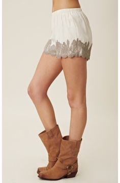 Gold Hawk Romantic Lace Shorts | Planet Blue
