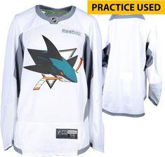 San Jose Sharks Practice-Used White Reebok Jersey Size 56 e5ec390c4