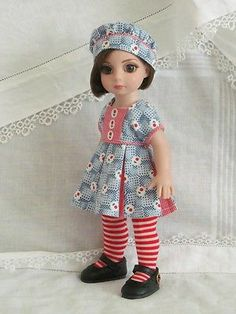 Patsy-Anne-Estelle-Tonner-10-OOAK-red-blue-Munchkin-dress-handmade-by-JEC. Sold for $41.00 on 6/15/14