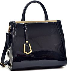 Dasein Patent Faux Leather Tote with Gold-Tone Accent (Black) ** Find out @