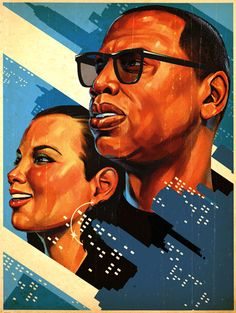 """Tavis Coburn - A portrait of Jay Z & Alicia Keys for an Entertainment Weekly article about the cultural impact of their song """"Empire State of Mind""""."""